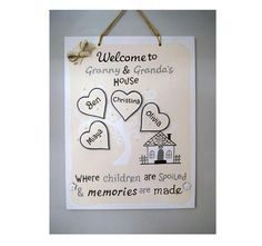 Personalised Gift for Granny. Family Tree with Grandchildren's Names Christina Olivia, Personalized Plaques, School Signs, Great Schools, Hand Painted Signs, Daughter Love, First Day Of School, Photo Props, Heart Shapes