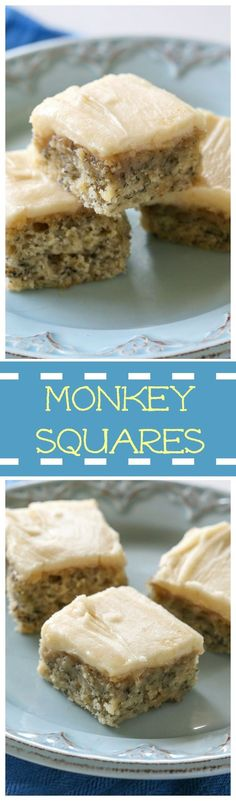 Monkey Squares - a moist banana bread bar with a brown sugar frosting! the-girl-who-ate-...