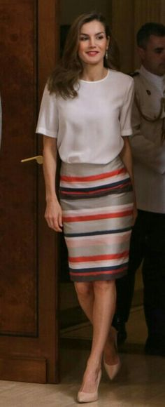 Letizia - Hugo Boss striped skirt and top - Magrit pumps - Tous earrings