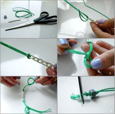 """.:* L - Cute DIY Friendship Links by Because I'm Addicted [You'll need: -scissors; -31/2 ft of colorful cord; - 2 inches of chain link; -1small bolt that matches the chain""""]"""
