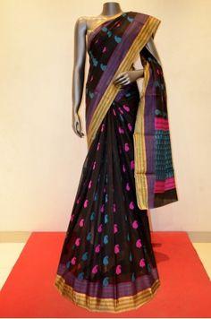 Designer Black Pure Silk Cotton                               Product Code: AB208027