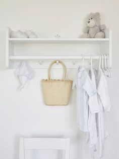 This beautifully stylish wall clothes rack from Scandinavia complete with hooks, rail and shelf is an essential basic for any children's room or hallway.