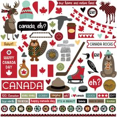 Photo Play Paper - O Canada Collection - 12 x 12 Cardstock Stickers - Elements: Add the O Canada Collection Elements Cardstock Stickers to your pages or cards for a beauty of a project! The package includes one x sheet of cardstock stickers designed by Scrapbook Stickers, Scrapbook Supplies, Scrapbook Paper, Scrapbook Borders, Scrapbooking Layouts, Printable Stickers, Planner Stickers, Phone Stickers, Vacation Scrapbook