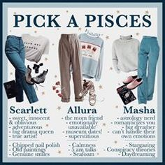 𝙕𝙤𝙙𝙞𝙖𝙘: 𝙋𝙞𝙨𝙘𝙚𝙨 Are you a Pisces? Which girl would you pick? Astrology Pisces, Pisces Quotes, Zodiac Signs Pisces, Astrology Numerology, Numerology Chart, Aesthetic Fashion, Aesthetic Clothes, Aesthetic Outfit, Zodiac Clothes