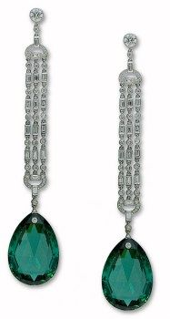 Platinum and Diamond Deco-Style Green Tourmaline Earrings from the Stephen Russell Collection.  Photo c/o Stephen Russell
