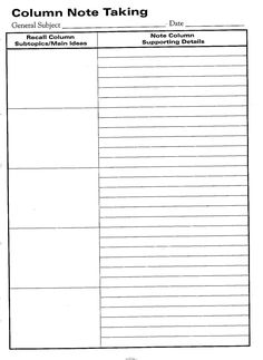 Free Printable Cornell Notes Graphic Organizer