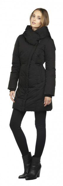 FLORIANE | BLACK CLASSIC DOWN COAT WITH LARGE HOOD | SOIA & KYO