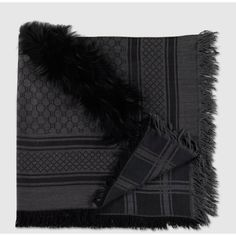 Gucci Gg Pattern Shawl With Fur Trim ($635) ❤ liked on Polyvore featuring accessories, scarves, fur, grey scarves, fur trimmed shawl, black shawl, grey shawl and print scarves