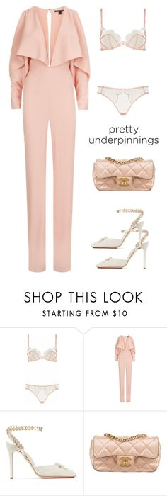 """""""Untitled #5248"""" by im-karla-with-a-k ❤ liked on Polyvore featuring Agent Provocateur, Charlotte Olympia and Chanel"""