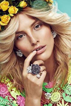 Floral inspiration from Elle Magazine Czech Republic May 2014. Model: Michaela Kocianova / Photographer: Branislav Simoncik / Styled by: Jan Kralicek // #editorial