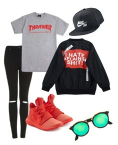"""Untitled #48"" by niina-tuulia on Polyvore featuring Topshop, adidas Originals, NIKE, Chicnova Fashion and Ray-Ban"