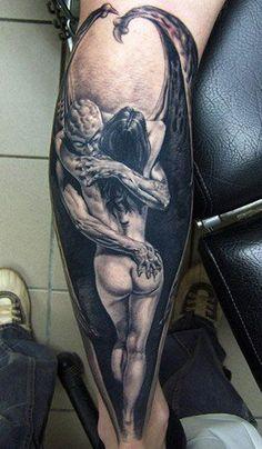Znalezione obrazy dla zapytania women angel and devil tattoo