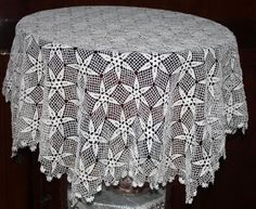 Hand Crochet Vintage Tablecloth  hexagon by glimmerbeauty on Etsy, $57.00