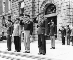 Allied leaders at the end of World War Two Field Marshal Viscount Montgomery Marshal Zhukov General Dwight Eisenhower and General Koenig saluting as...