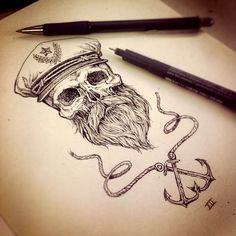beards bearded man men nautical sailor anchor anchors tattoos tattoo ...