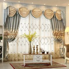 European-style villa high-end custom Blackout embroidered Curtains for Living Room with luxury Voile Curtain for Bedroom Fancy Curtains, Luxury Curtains, Custom Curtains, Colorful Curtains, Drapes Curtains, Bedroom Curtains, Valances, Blackout Curtains, Fancy Living Rooms