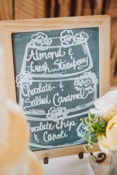 Chalkboard Sign Noting Cake Flavor Layers | Rustic Bohemian Summer Charleston South Carolina Wedding At Boone Hall Plantation | Photograph by Priscilla Thomas Photography  http://storyboardwedding.com/rustic-bohemian-summer-charleston-south-carolina-wedding-at-boone-hall-plantation/