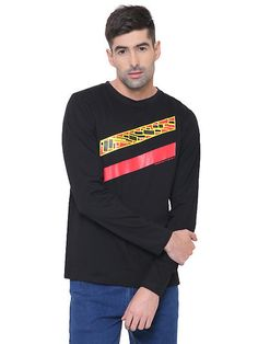 db330b4549c Black Cotton Round Neck T -shirt Black Cotton