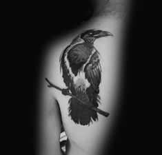 Upper Back Cool Mens Crow Tattoo Design Inspiration