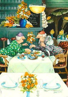Wholesale Postcards of Inge Look, number 32 Old Lady Humor, Friends Forever, Old Women, Old Ladies, Ladies Night, Getting Old, Alter, Cool Art, Illustration Art
