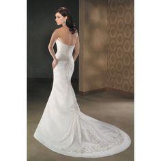 Taffeta Strapless Slim sheath Shape Embroidery Chapel Train Bridal Dress WB-0016