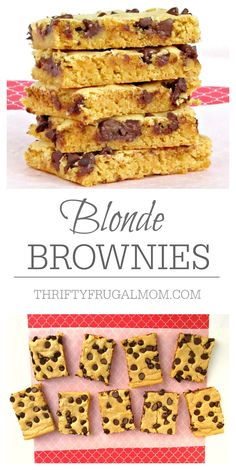 These delicious Blonde Brownies are always a hit and because they are so easy, they're the perfect recipe for kid's to make!  Who doesn't love a chewy chocolate chip brownie?
