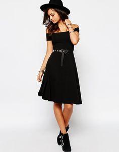 Image 4 ofNew Look Bardot Skater Midi Dress