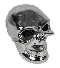 PLATINUM - Three dimensional chrome skull air freshener. Holds Standard 1oz gel. Item A4015