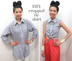DIY Men's Shirt to Cropped Tie Top by Syl and Sam