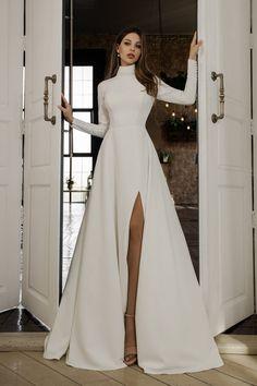 Floor length wedding dress. High-necked wedding dress. Wedding   Etsy Straight Wedding Dresses, Slit Wedding Dress, Formal Dresses With Sleeves, Wedding Dress With Pockets, Long Sleeve Wedding, Floor Length Dresses, Dream Wedding, Wedding Dreams, Wedding Stuff