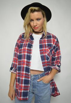VINTAGE 90S RED & NAVY CHECKED FLANNEL SHIRT GRUNGE HIPSTER