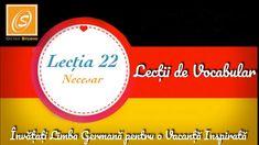 Lecția 22 - Necesar - Lecții de Vocabular in Limba Germană - YouTube Chart, Youtube, Youtubers, Youtube Movies
