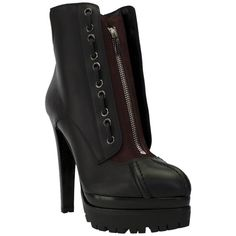 Sergio Rossi Pre-owned Sergio Rossi Leather Zipper Lug Sole Ankle Boot... ($655) ❤ liked on Polyvore featuring shoes, boots, ankle booties, black, black leather booties, black bootie, leather ankle boots, platform booties and short leather boots
