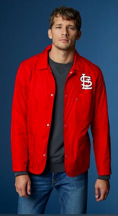 Show up for St. Louis in our red Coaches Jacket, perfect for spring games and warm nights.