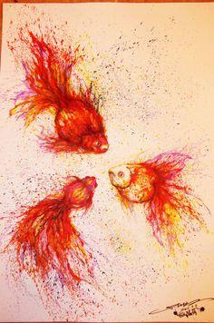 Chinese graffiti artist and painter Hua Tunan creates three fantail goldfish with splatters