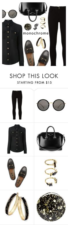 """One Color, Head to Toe"" by dressedbyrose ❤ liked on Polyvore featuring Frame, Linda Farrow, Balmain, Givenchy, Gucci, Noir Jewelry, Thalia Sodi, Nails Inc., Illamasqua and monochrome"