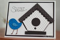 you make me smile card {love the little bird!}