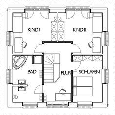Stadtvilla Grundriss Obergeschoss mit 75,10 m² Wohnfläche