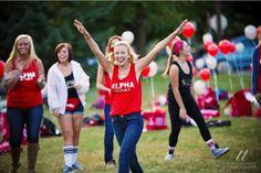 Alpha Omicron Pi at Ball State University #AlphaOmicronPi #AOII #BidDay #balloons #sorority #BSU