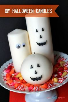 DIY Happy Halloween Candles, Put Eyes & Jack o Lantern faces on PartyLite LED Pillars! www.partylite.biz/breannataylor #halloweenstore