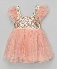 This Light Coral Glitter Dress - Infant, Toddler & Girls by Designs by Meghna is perfect! #zulilyfinds