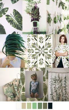 LEAFY GREENS Colour Schemes, Color Trends, Color Combos, Color Patterns, Design Trends, Print Patterns, Style Floral, Collage, Pantone Color