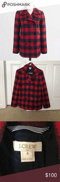 JCrew Factory Buffalo Blue Red Check Peacoat Sz 4 Bought and worn once or twice. It's longer than the retail version and I was hoping for the tailored look. No issues. Feel free to make me an offer. J. Crew Factory Jackets & Coats Pea Coats