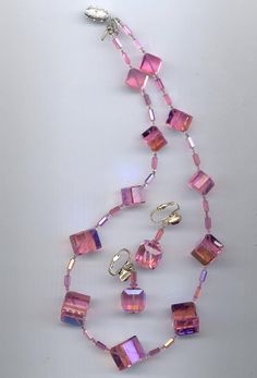 Fabulous vintage Vendome necklace and earrings with near-perfect Swarovski rose aurora borealis cube crystals