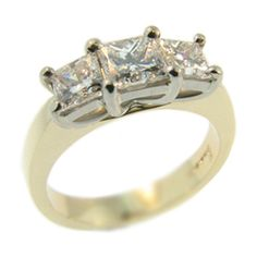 18ct Yellow and White Gold & 3 Stone Princess Cut Diamond Ring made at Cameron Jewellery