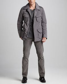 Escape Jacket, Ribbed Henley & Five-Pocket Corduroy Pants by Ralph Lauren Black Label at Bergdorf Goodman.