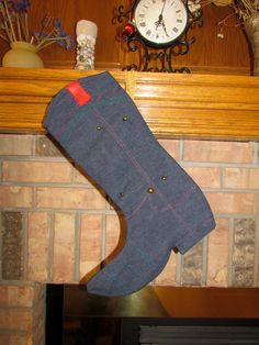Cowboy Boot Christmas Stocking by Mickeystitches on Etsy, $25.00 Sold