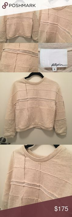 """Authentic 3.1 Phillip Lim Sweatshirt Authentic Phillip Lim 3.1 Sweatshirt. Size small in """"cream"""" color. Only worn a few times - in amazing condition with no obvious flaws, basically new! This sweatshirt provides a distressed pre-worn look and feel. See photos for additional style details. Measures 17.25"""" across and 17.5"""" from shoulder to hem. Body made of 100% cotton and trim is polyester. 3.1 Phillip Lim Sweaters Crew & Scoop Necks"""