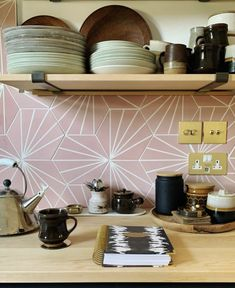 pink geo tiling and polished switches Amy - Interiors ( Honeycomb Tile, Hexagon Tiles, Metro Tiles Kitchen, Pink Tiles, Wow Products, Tile Design, Inspiration, Lily Pad, Interiors