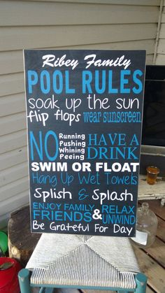 Swimming Pool Plaques Signs Wall Decor Pool Sign Pool Rules Wooden Wall Art Hand Paintedmamasayssigns